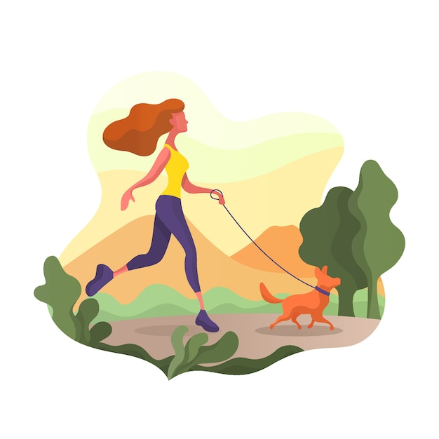 Woman walking with dog in the park. she is very happy. Premium Vector