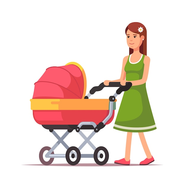Woman walking with her child in a pink pram Free Vector