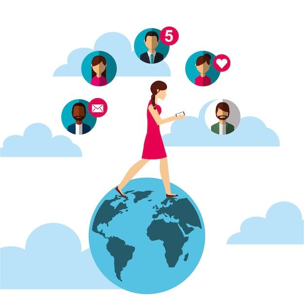 Woman walking in world using smartphone people bubbles Premium Vector