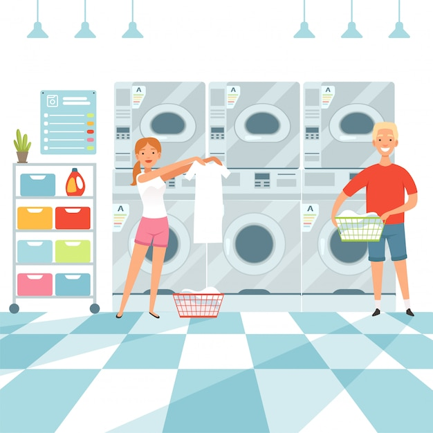 Woman washing clothes in the laundry Premium Vector