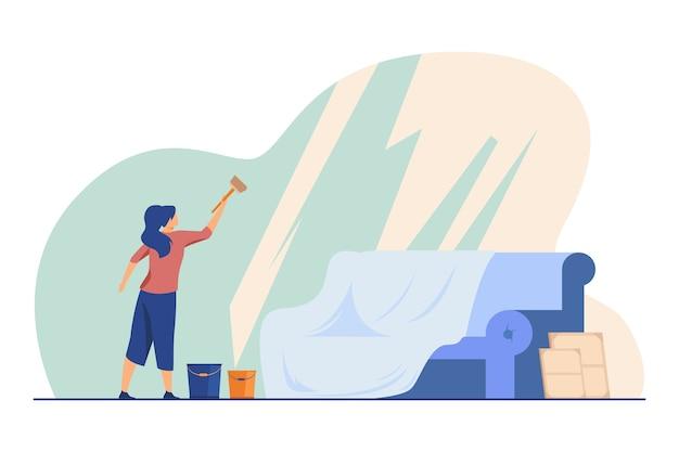 パノラマの窓を洗う女性。家、ソファ、バケツフラットベクトルイラスト。ハウスキーピングおよびクリーニングサービス 無料ベクター