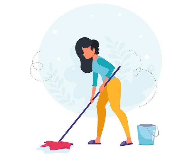Женщина моет пол. концепция уборки дома. домохозяйка убирает в доме. Premium векторы