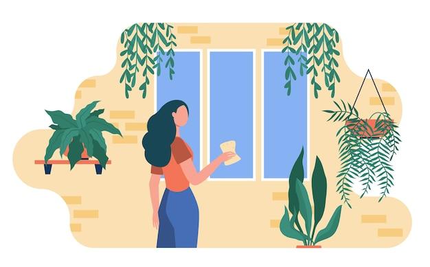 집 식물 중 여자 세척 창입니다. houseplants, 온실, 에코 인테리어 평면 그림. 무료 벡터