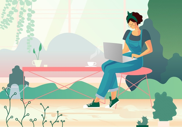 Woman watching film on laptop in greenhouse. hobby Premium Vector