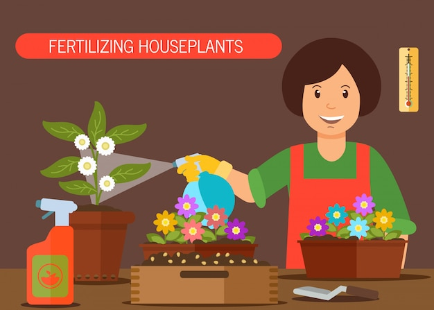 Woman watering house plant vector illustration Premium Vector