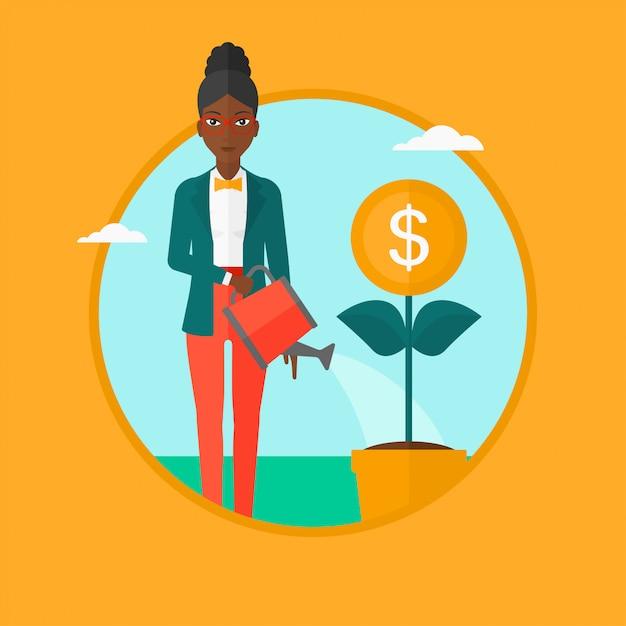 Woman watering money flower vector illustration. Premium Vector