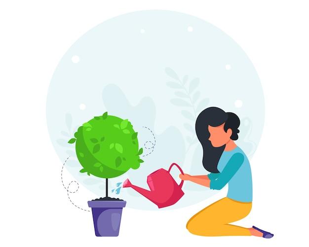 Женщина поливает растение. концепция уборки дома. домохозяйка убирает в доме. Premium векторы