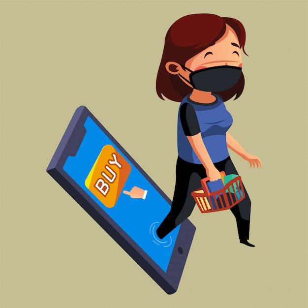 マスクをした女性がオンラインショッピングではなく食料品店に行きたい Premiumベクター