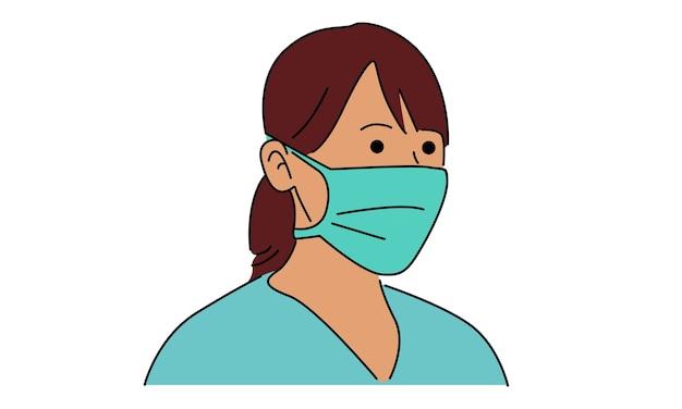 Женщина в маске от пыли для защиты в рисованной Premium векторы