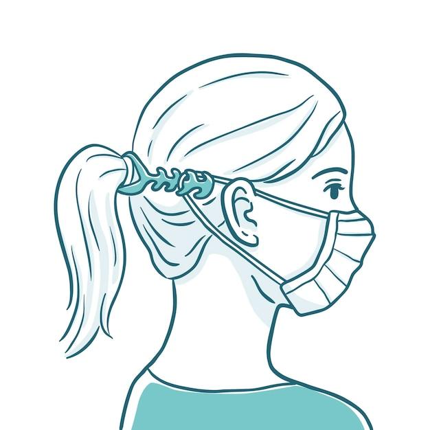 Donna che indossa un cinturino per maschera facciale regolabile Vettore gratuito