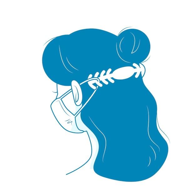 Donna che indossa un cinturino regolabile per maschera medica Vettore gratuito