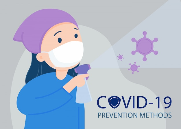 Woman wearing a face mask, sanitizing with alcohol spray. covid -19 prevention. Premium Vector