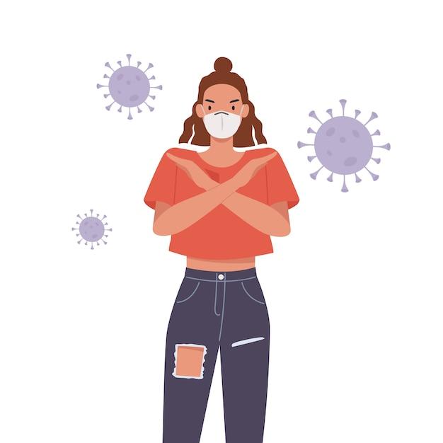 Женщина в маске. молодая женщина со скрещенными руками жест. остановить пандемию концепции. иллюстрация в плоском стиле Premium векторы
