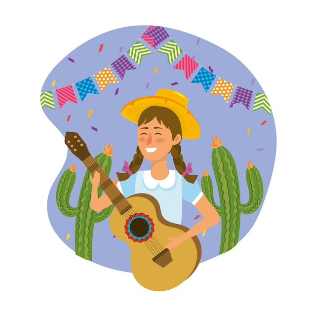 Woman wearing hat with guitar and cactus plants Premium Vector