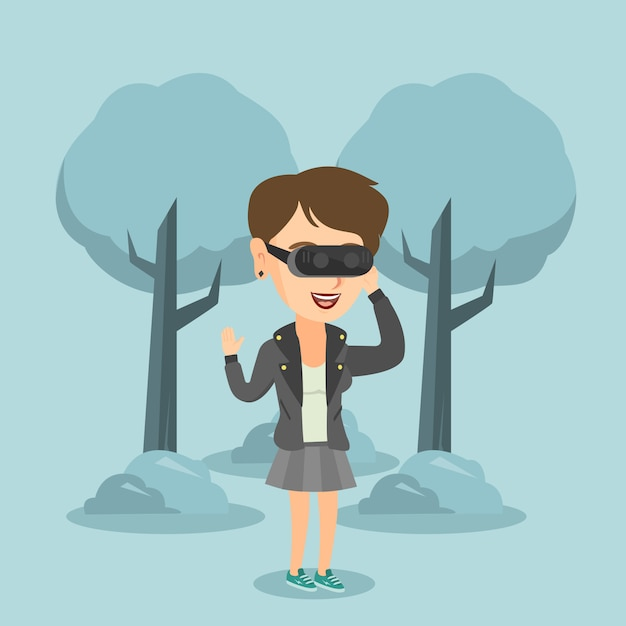 Woman wearing virtual reality headset in the park. Premium Vector