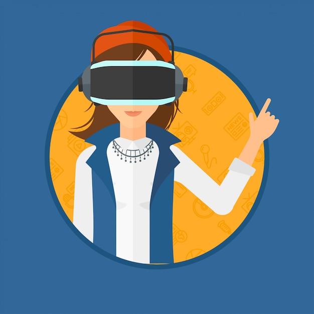 Woman wearing virtual reality headset. Premium Vector