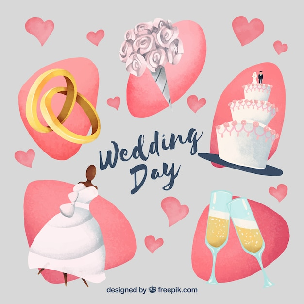 Woman wedding elements Free Vector