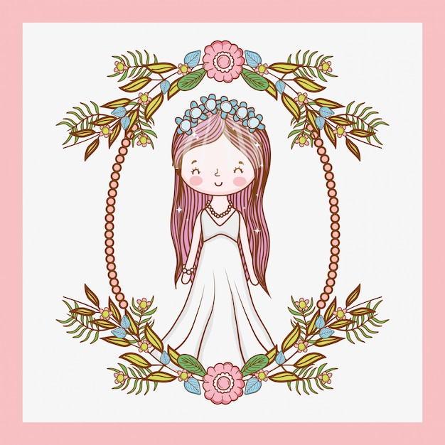 Woman wedding with frame and plants leaves Premium Vector