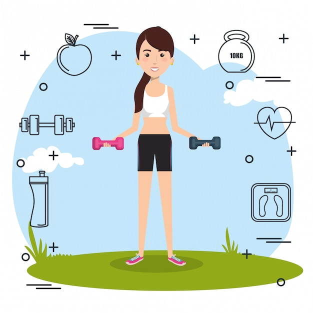 Woman weight lifting with sports icons Free Vector