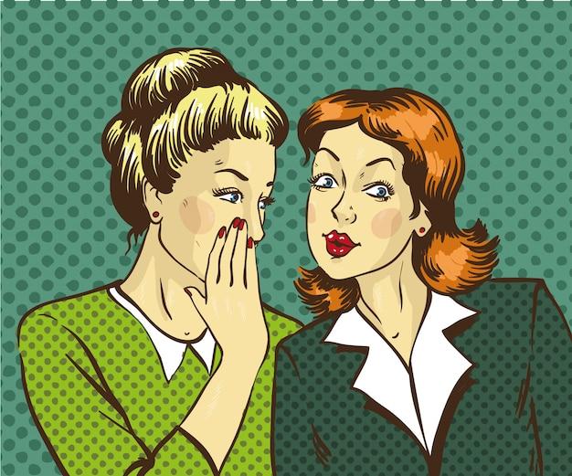 Woman whispering gossip or secret to her friend Premium Vector