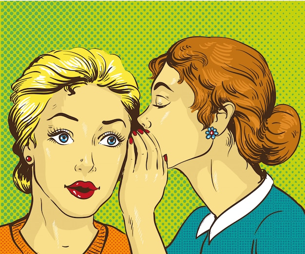 Woman whispering gossip or secret to her friend Premium Vector