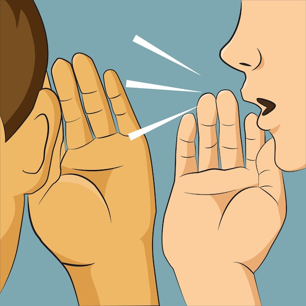 Woman whispering into someone ear telling her something secret. Premium Vector