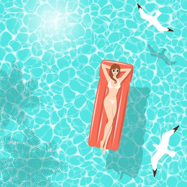 Woman in white bikini on red air mattress Premium Vector