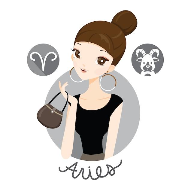 Женщина со знаком зодиака овен Premium векторы