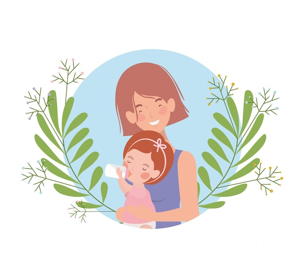 Woman with baby avatar character Premium Vector