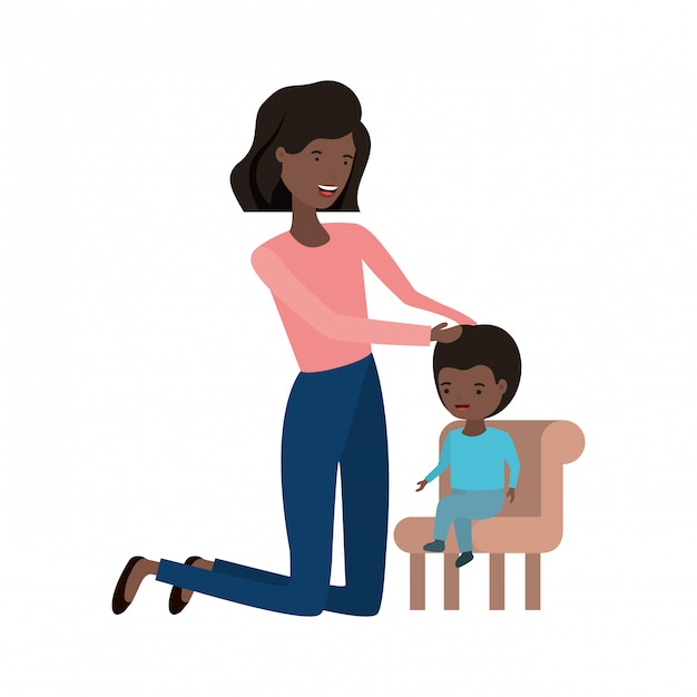 Woman with baby sitting on chair avatar character Premium Vector