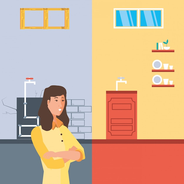 Woman with before and after home under construction Premium Vector