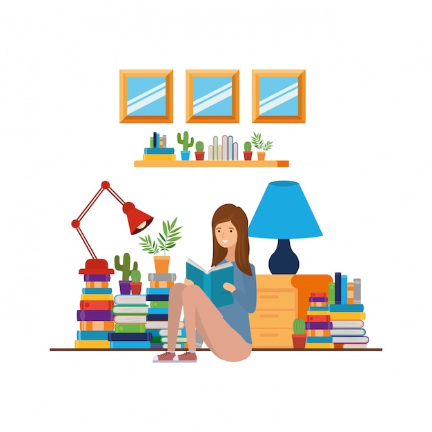 Woman with book in hands in living room Premium Vector