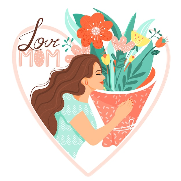Woman with bouquet of flowers Premium Vector