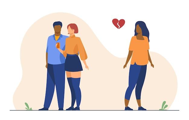 Женщина с разбитым сердцем. девушка наблюдает, как бывший парень встречается с новой девушкой. иллюстрации шаржа Бесплатные векторы