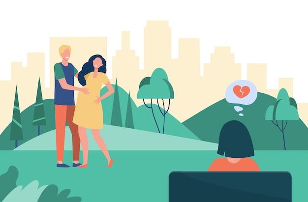 Женщина с разбитым сердцем, глядя на счастливую семью. беременность, пара, материнство плоской иллюстрации. иллюстрации шаржа Бесплатные векторы