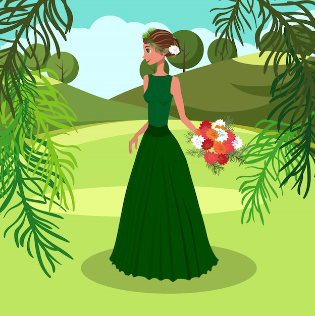 Woman with bunch of asters vector illustration. Premium Vector