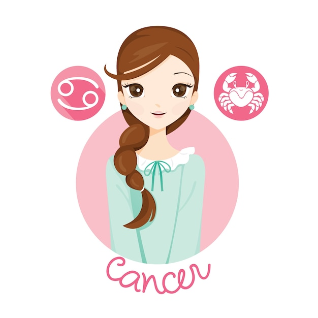 Женщина со знаком зодиака рак Premium векторы