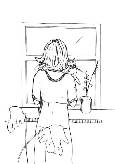 Женщина с кошками стоит возле окна. ручной обращается иллюстрации на белом фоне. Premium векторы