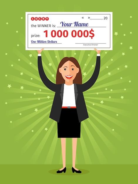 Donna con in mano un assegno di un milione di dollari. denaro e affari, finanza ricca di successi, lotteria e premi Vettore gratuito