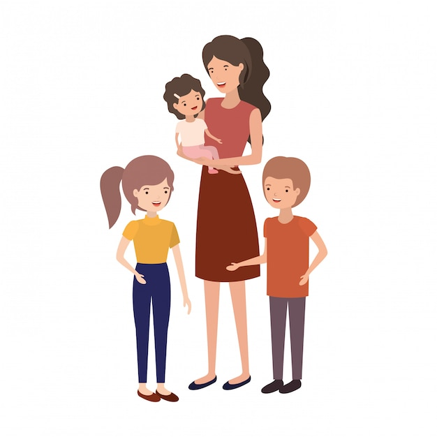 Woman with children avatar character Premium Vector
