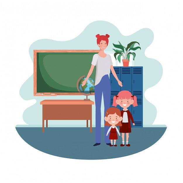 Woman with children of back to school Premium Vector