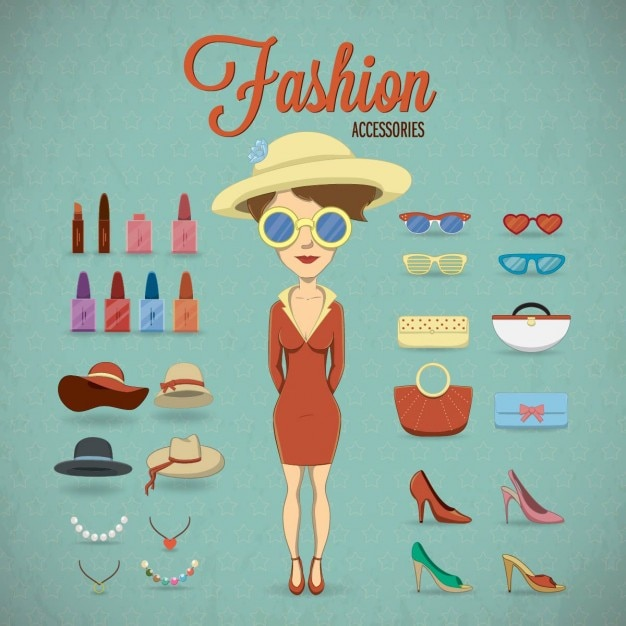 Woman with clothing accessories Free Vector