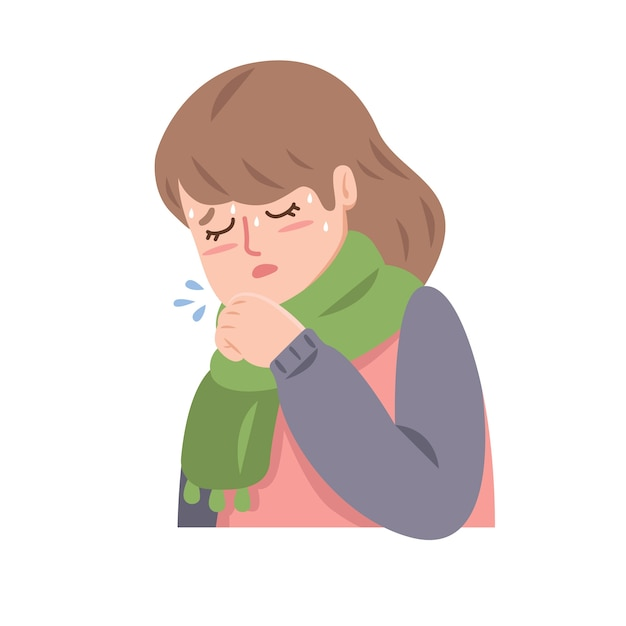 Woman with cold coughing Free Vector