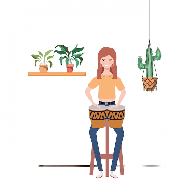 Woman with congas and houseplants on macrame hangers Premium Vector