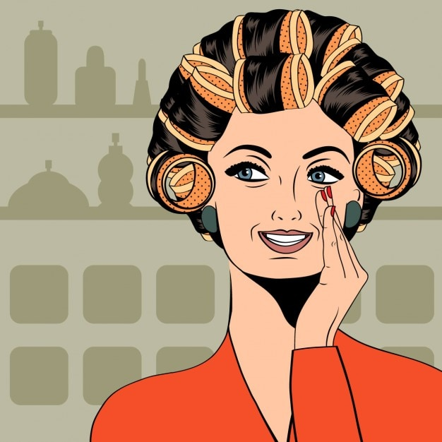 Woman with curlers in their hair Free Vector