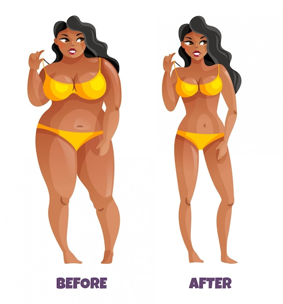Woman with dark skin and curvy hair in yellow bikini before and after slimming Free Vector
