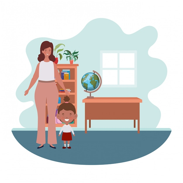 Woman with daughter of back to school Premium Vector