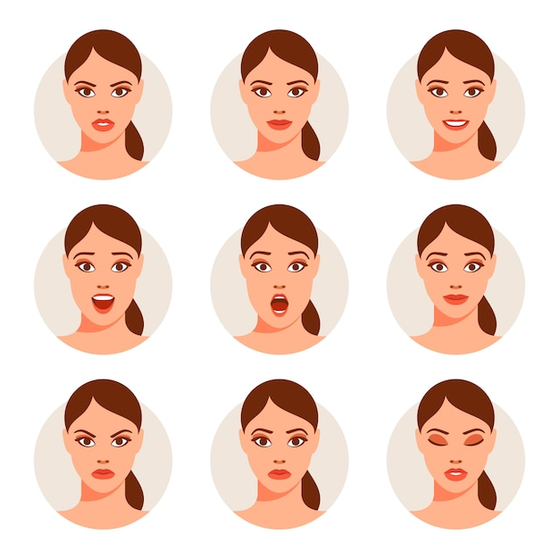 Woman with different facial expressions set Premium Vector