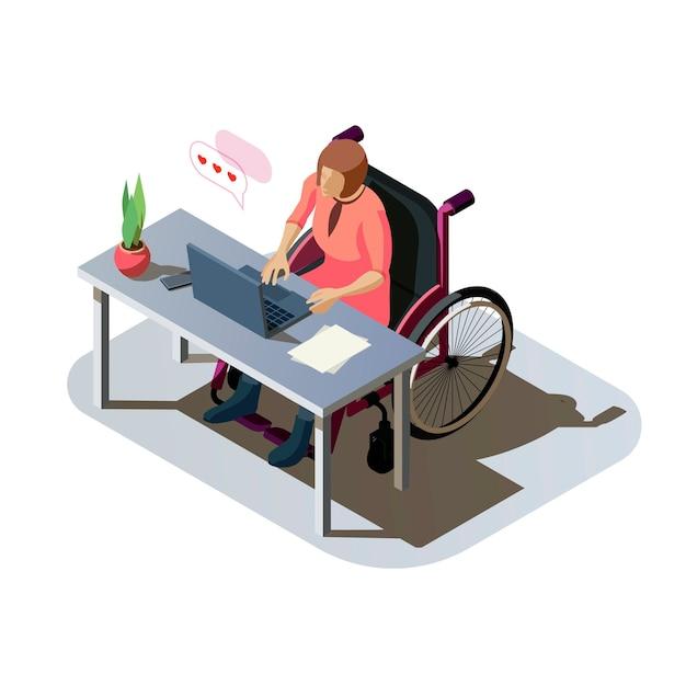 コンピューターで作業しているデスクで障害を持つ女性。仕事をしている、またはオンラインで通信している車椅子で怪我をしている無効な女性。職場での障害者キャラクター、アイソメトリックイラスト。 無料ベクター