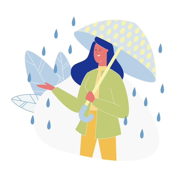 Woman with dotted bright umbrella standing at rain Premium Vector